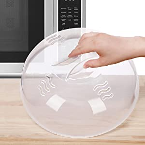 Microwave Splatter Cover Microwave Cover for Food Large Microwave Plate Food Cover With Easy Grip Handle Anti-Splatter Lid With Enlarge Perforated Steam Vents,11.5 Inch,BPA Free & Dishwasher Safe