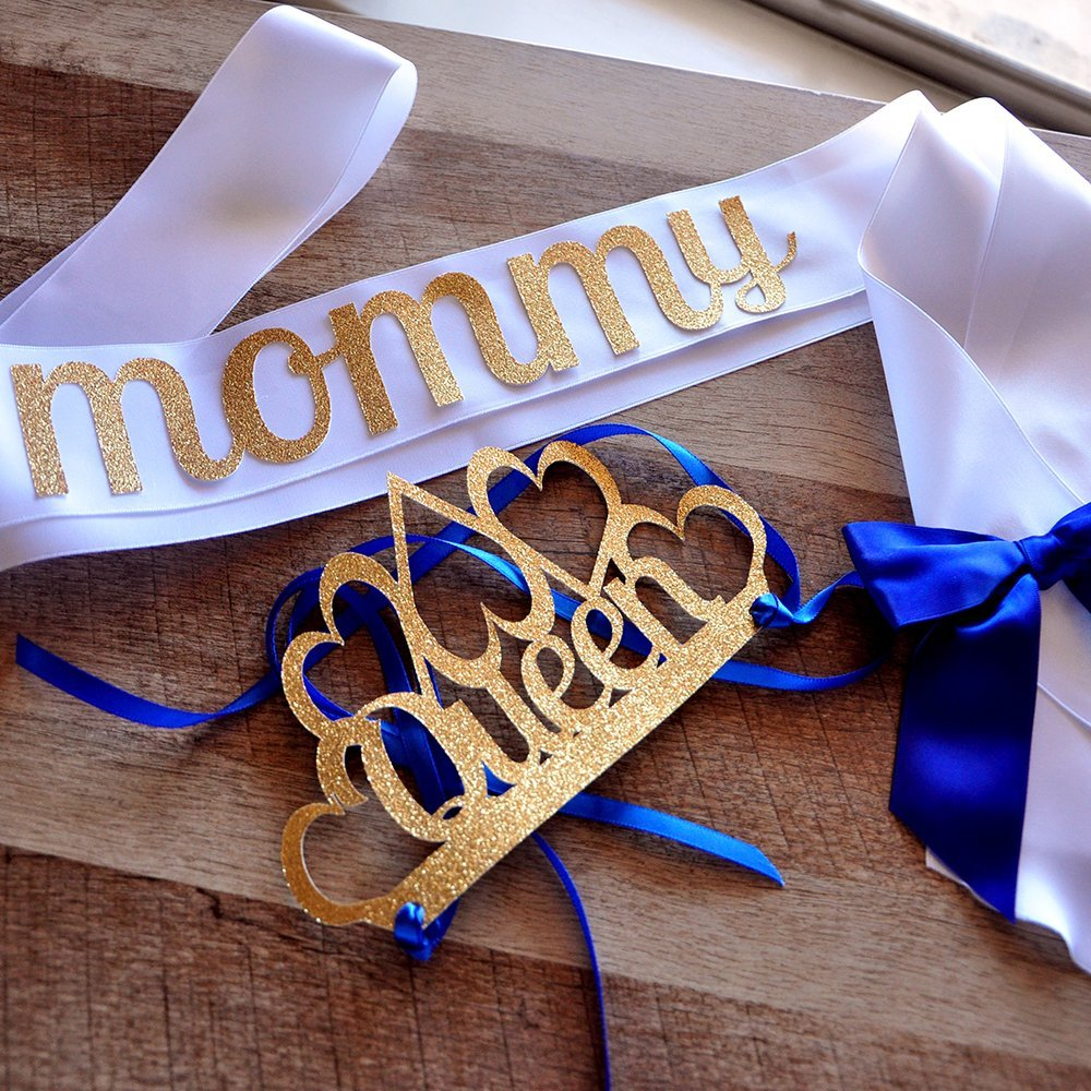 Royal Prince Baby Shower Decorations. Queen Crown and Sash combo for Mom to Be.