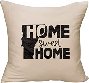 EVH Home Sweet Home Vermont State Native Hometown Love Decorative Throw Pillow Cover 18 x 18 Beige Funny Gift