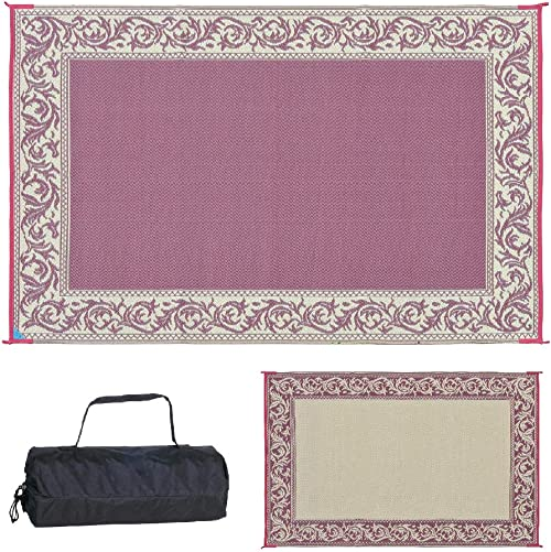 Stylish Camping 6-Feet x 9-Feet Reversible Outdoor RV Mat, Burgundy Beige Patio Mat RD5, 6 feet X 9 feet
