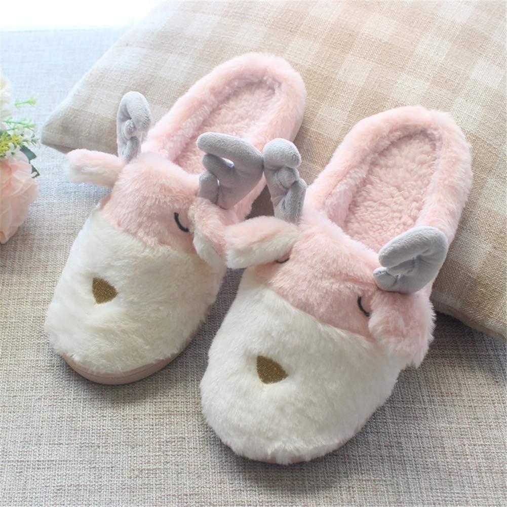 Aimeely Women Cute Winter Warm Cartoon Deer Home Indoor Plush Slipper