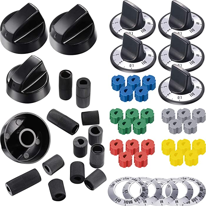 KN002 Electrical Knob Kit Compatible with Oven Range Burner Replace for GE AP5641247 MA-XP6 RK103 4 Pieces Black Control Knobs Replacement with 12 Pieces Universal Design Adapters