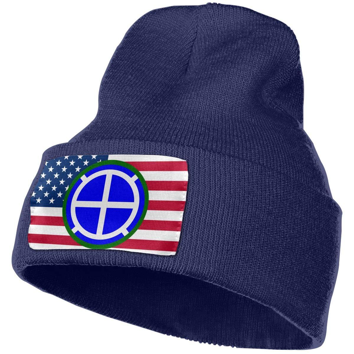 35th Infantry Division Men/&Women Warm Winter Knit Plain Beanie Hat Skull Cap Acrylic Knit Cuff Hat