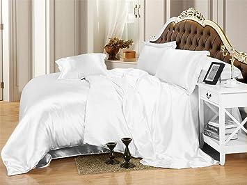 Opulence Bedding Luxurious Ultra Soft Silky Satin 4-Piece Bed Sheet Set Black Twin
