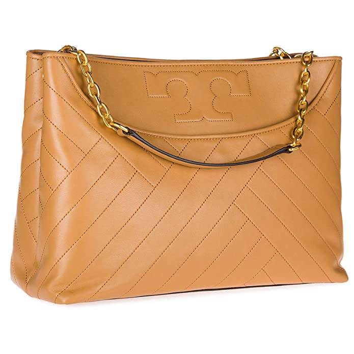5b281121d302 Amazon.com: Tory Burch Alexa Leather Center Zip Tote, Aged Vachetta: Shoes
