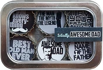 Kate Grenier Designs Awesome Dad Bottle Cap magnet 6 Pack, , Multicolor