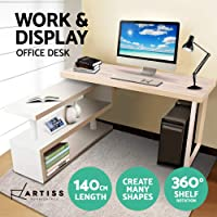 Computer Desk, Artiss 360 Degrees Rotatable Flexible Wood Bookshelf Storage PC Computer Laptop Study Workstation Office Corner Table Desk for Home