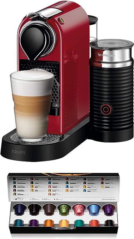 Nespresso Krups Citiz XN7605 - Cafetera monodosis de cápsulas Nespresso con aeroccino, compacta, 19 bares, apagado ...