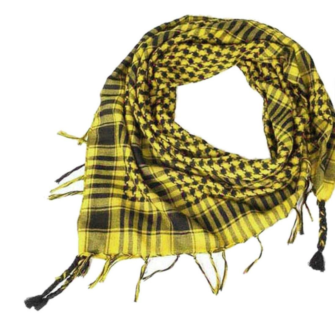 Unisex Fashion Plaid Scarf Shawl, Keepfit Arab Shemagh Keffiyeh Palestine Classic Shawl Wrap for Women Men (Yellow)