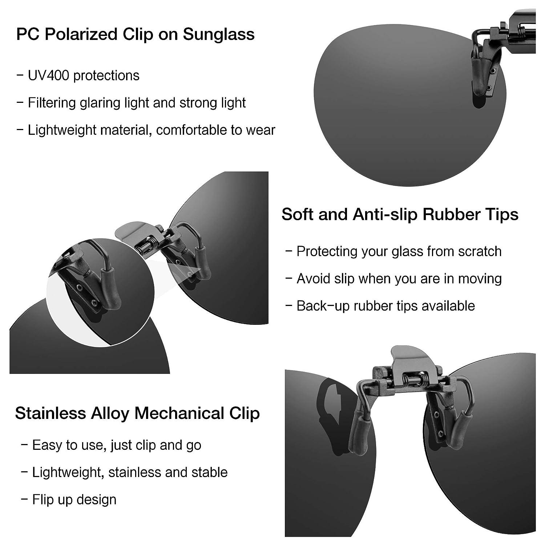 742fad58ea gafas de sol Clip de 2 piezas en gafas de sol polarizadas Flip Up contra  luz Ideal para conducir de noche Mujeres Hombres Portadores unisex:  Amazon.es: Ropa ...