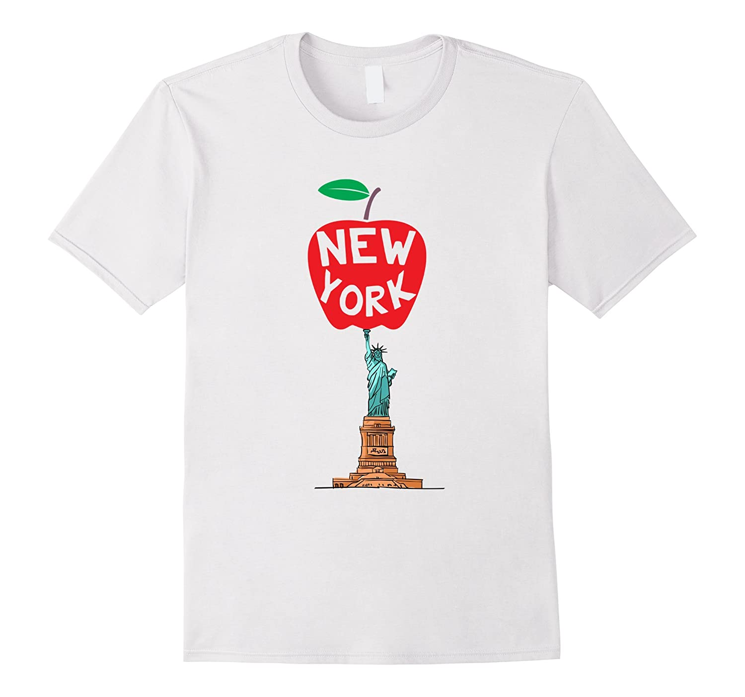 New York The Big Apple T-Shirt Statue of Liberty Design-RT