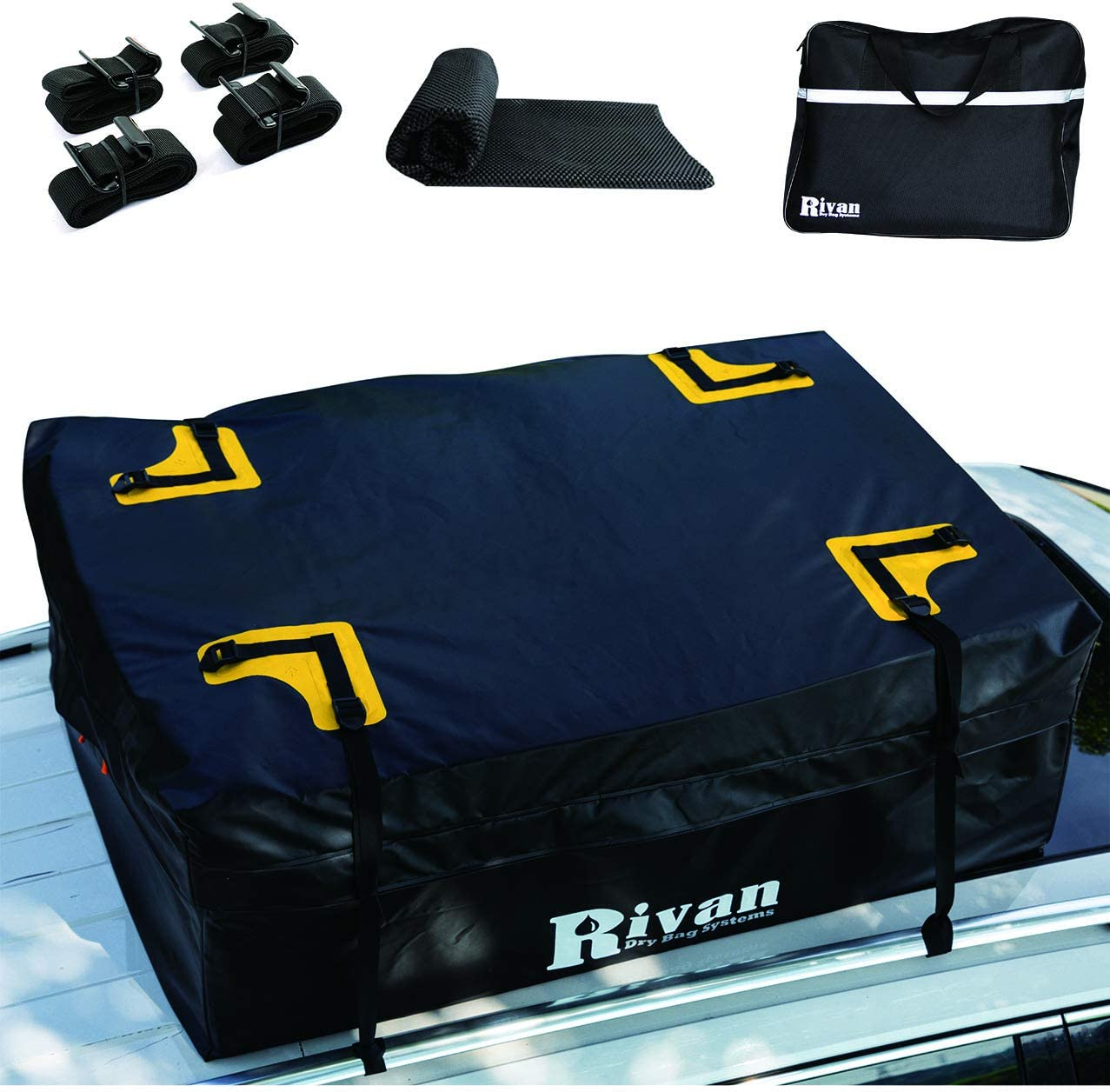 Waterproof Zipper and Rain Flap RIVAN 100/% Waterproof Car Rooftop Cargo Carrier Bag 15 cu ft