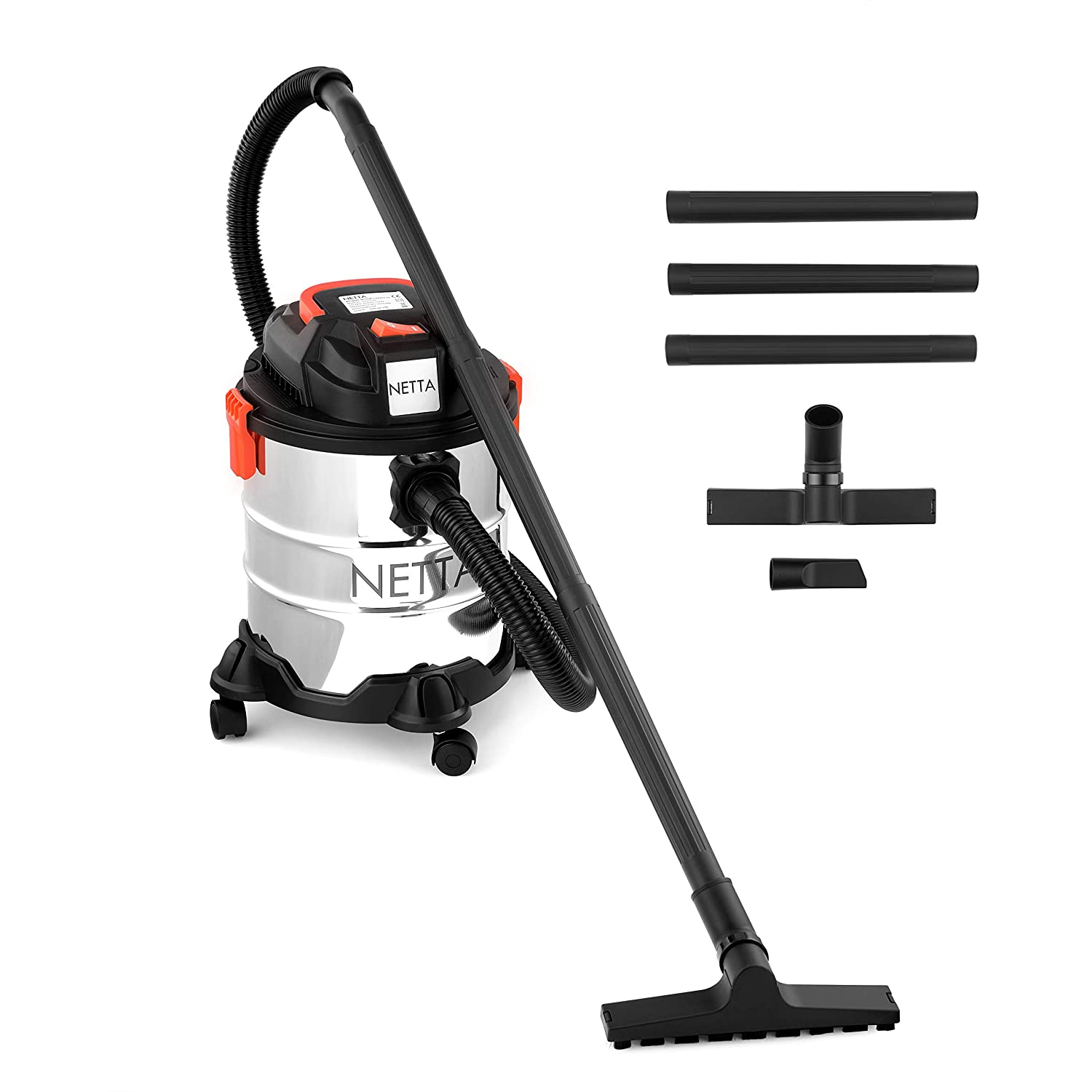 NETTA 1000W 20L Wet and Dry Vacuum Cleaner With Blow Function & Powerful Suction - Stainless Steel Tank
