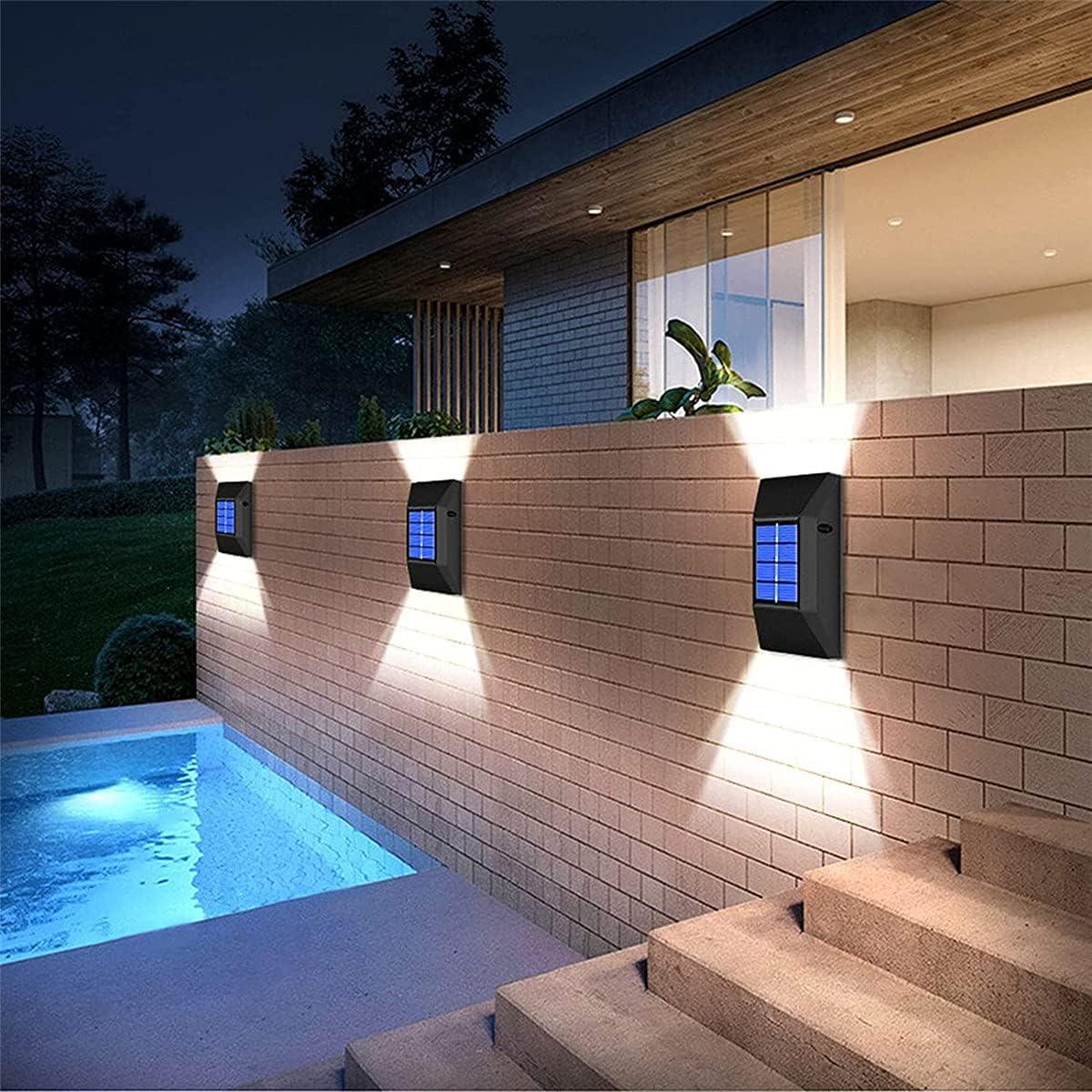 Solar Lights Outdoor, 2 Pack 6 Led Light Outdoor Garden Decorative Motion Sensor Lights Waterproof Security Wall Lighting Outside for Front Door, Backyard (White Light-2 Pack)