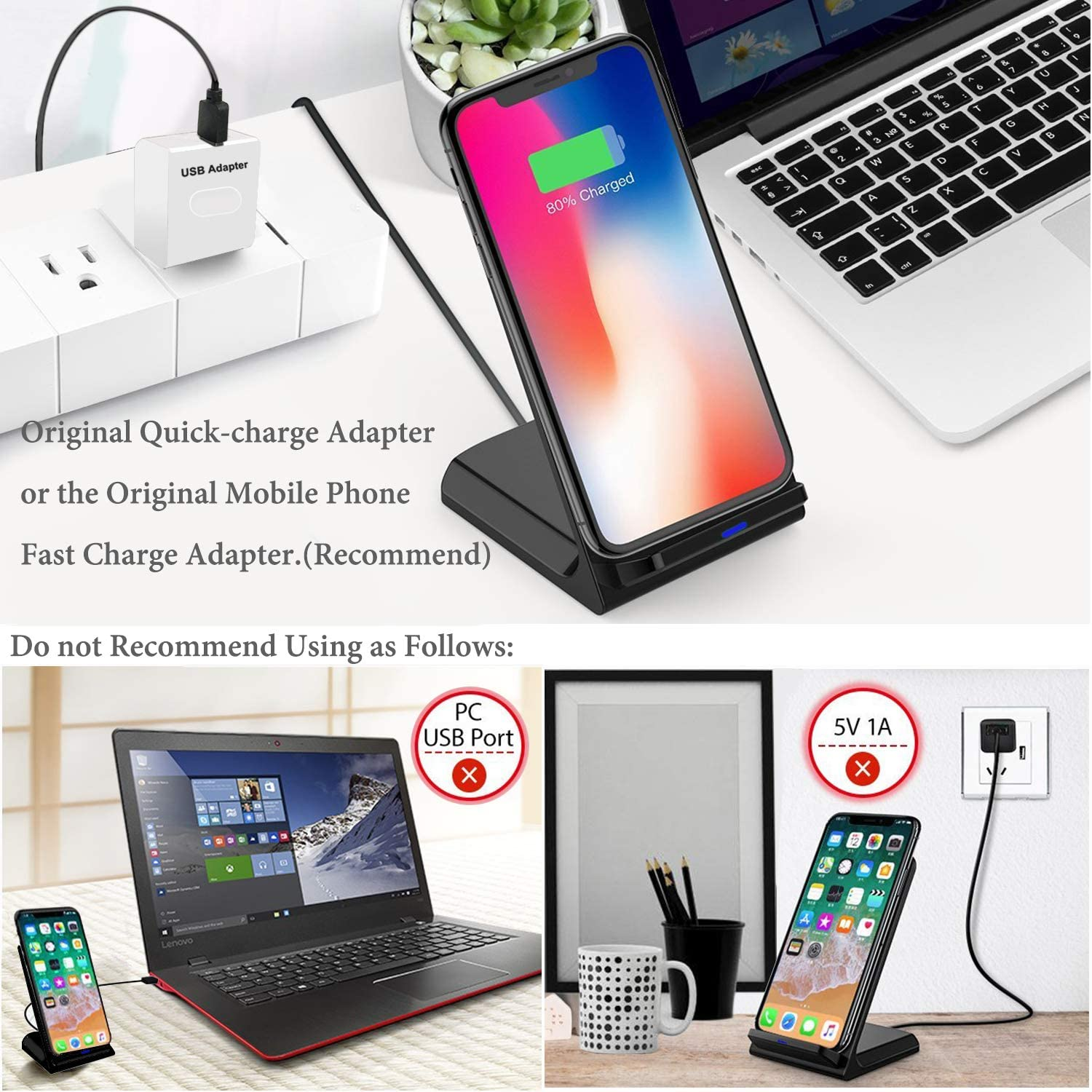 Wantacme Fast Wireless Charger Stand for All Qi-Enable Black 10W Quick Wireless Charger Qi Charging Dock Compatible with Samsung S9 S8 S7 and 7.5W Wireless Charger Compatible with iPhone X XR XS
