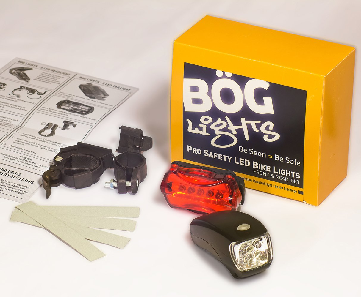 LED BIKE LIGHT SET. Bicycle headlight & taillight combo. Ultrabright 5 LED kit.. Use on bike or scooter. FREE high visibility reflectors. ~ In BG Lights gift box as pictured by BoG Products (Image #8)