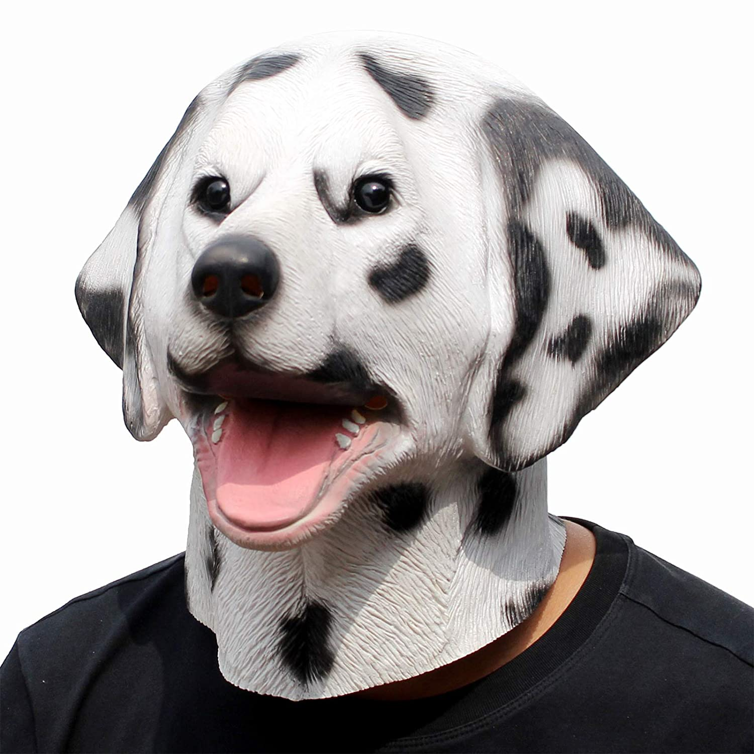 CreepyParty Deluxe Halloween Costume Party Latex Animal Dog Head Mask Dalmatian
