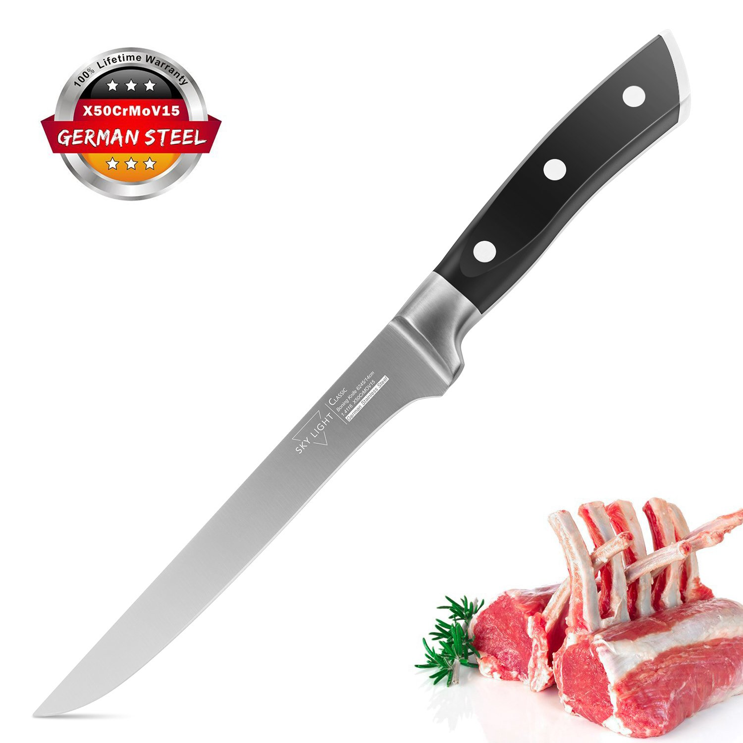 Boning Knife Flexible Fillet Knife 5.5 Inch Kitchen knife Forged Razor Sharp Blade German High Carbon Stainless Steel Cutlery with Ergonomic Handle by SKY LIGHT