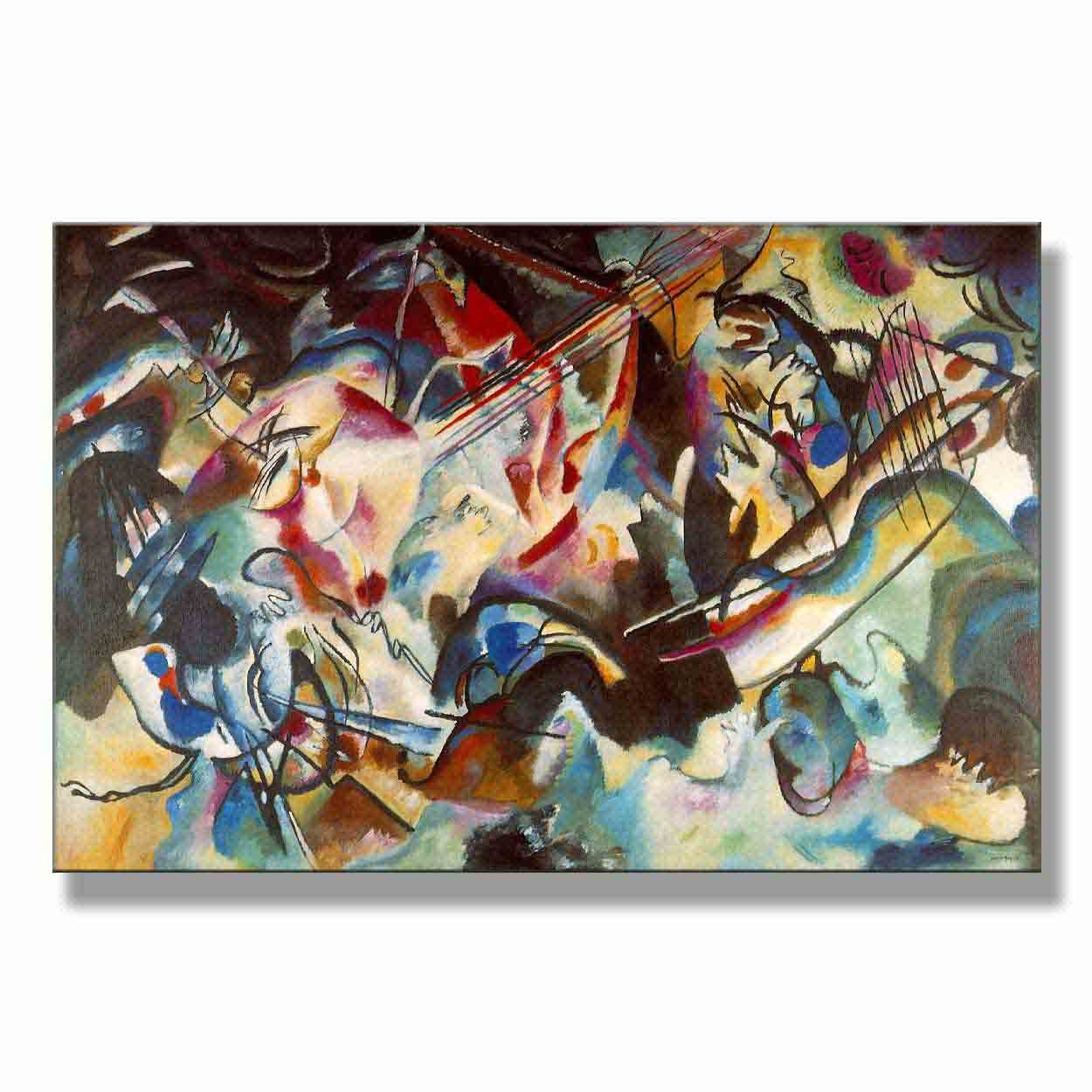 Wassily Kandinsky Composition 6 1913 Original Abstract Canvas Paintings Hand Painted Reproduction Unframed Tablet - 48X32 inch (122X81 cm) for Living Room Bedroom Dining Room Wall Decor To DIY Frame