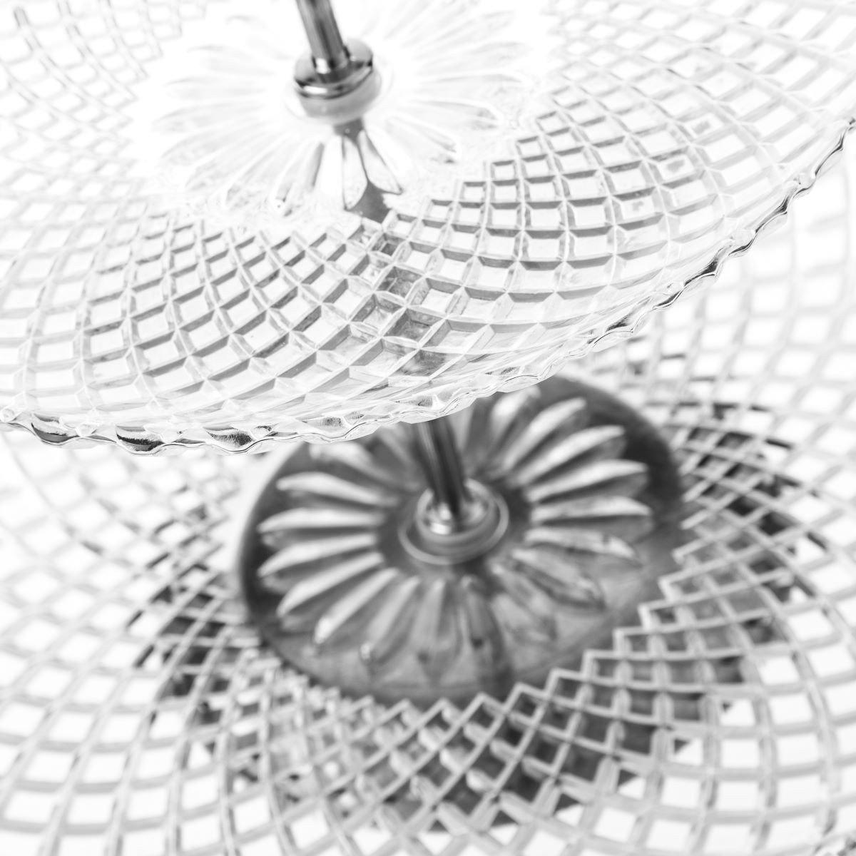 Dream Hogar Frutero//pastelero 2 Pisos Cristal 25x25x24 cm