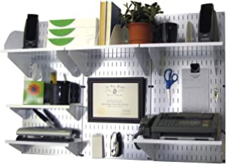 product image for Wall Control Office Organizer Unit Wall Mounted Office Desk Storage and Organization Kit Metallic Wall Panels and White Accessories