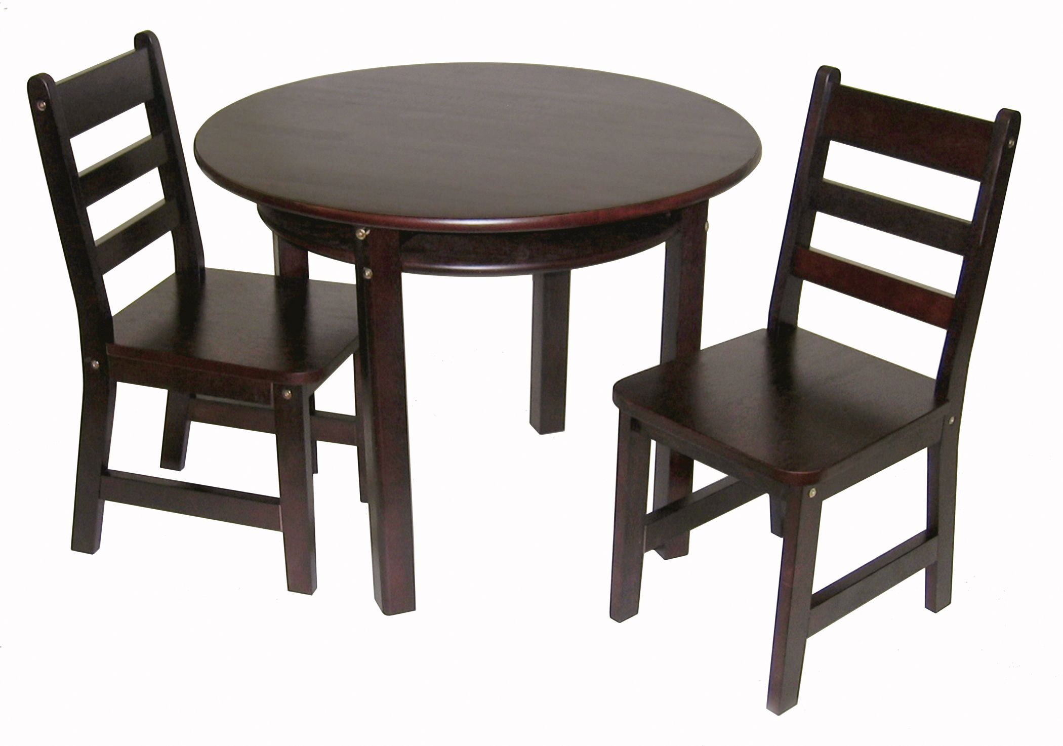 Lipper International 524E Child's Round Table with Shelf and 2 Chairs, Espresso Finish