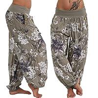 Pantalon Femme, YUYOUG Rétro Yoga Pilates Pantalon Femme Smockée Harem Bouffant Ceinture Causal Dames Bloomers Pantalon Occasionnels Bouffant Baggy Sarouels Boho Pants