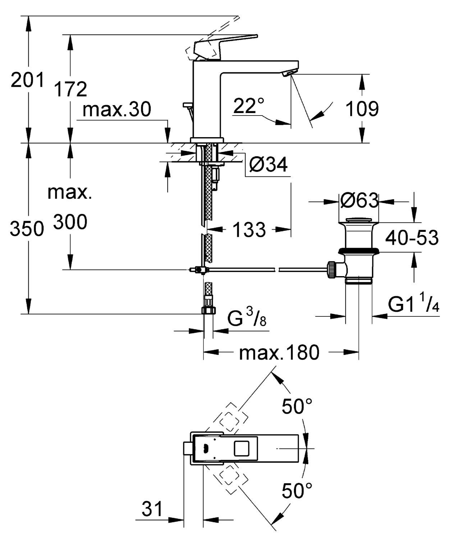 Cromo Grohe 23446000 Miscelatore Monocomando per Lavabo Taglia M Eurocube