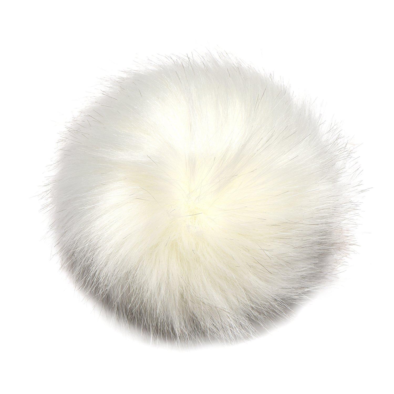 Intercambiabile Pompon Bommel 10 cm per cappelli in pelliccia sintetica con  bottone a pressione bianco  Amazon.it  Casa e cucina 2a04d1be1d21