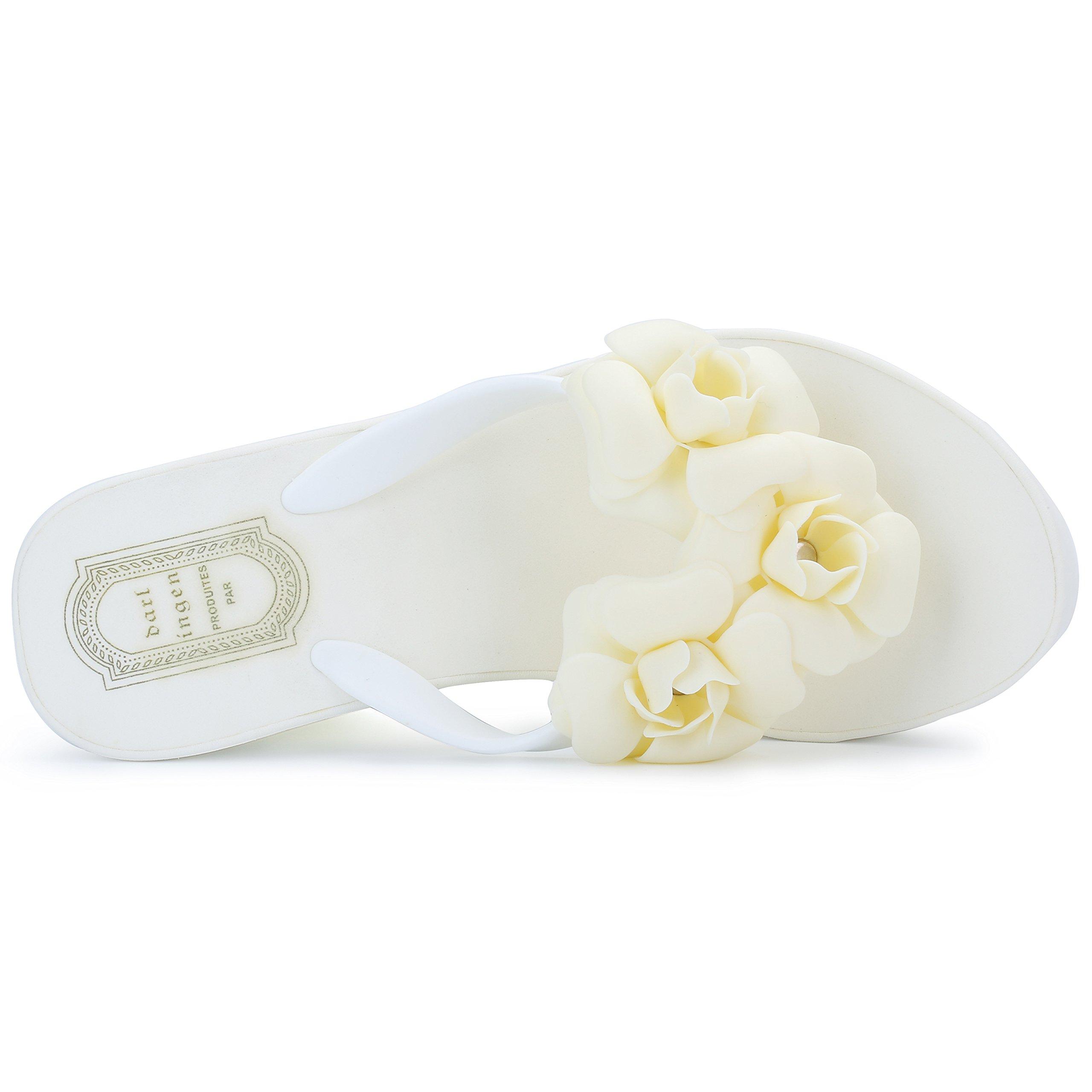 93ed0d5bf568 IDIFU Women s Boho Flowers Wedge Platform Flip Flops Sandy Thong Sandals  Heels   Flip-Flops   Clothing