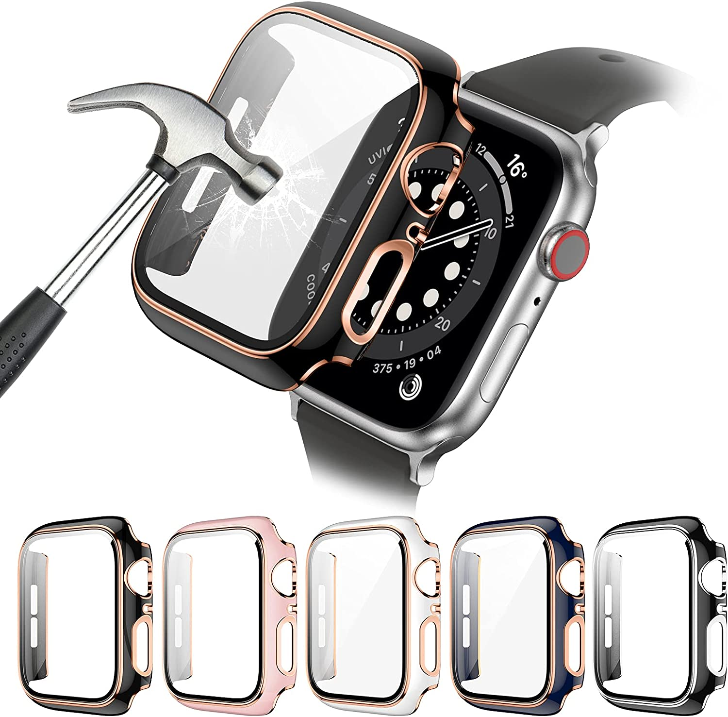5 Pack Apple Watch Case with Tempered Glass Screen Protector for Apple Watch 38mm Series 3/2/1, Haojavo New Hard PC Ultra-Thin Scratch Resistant Bumper HD Protective Cover for iWatch Accessories