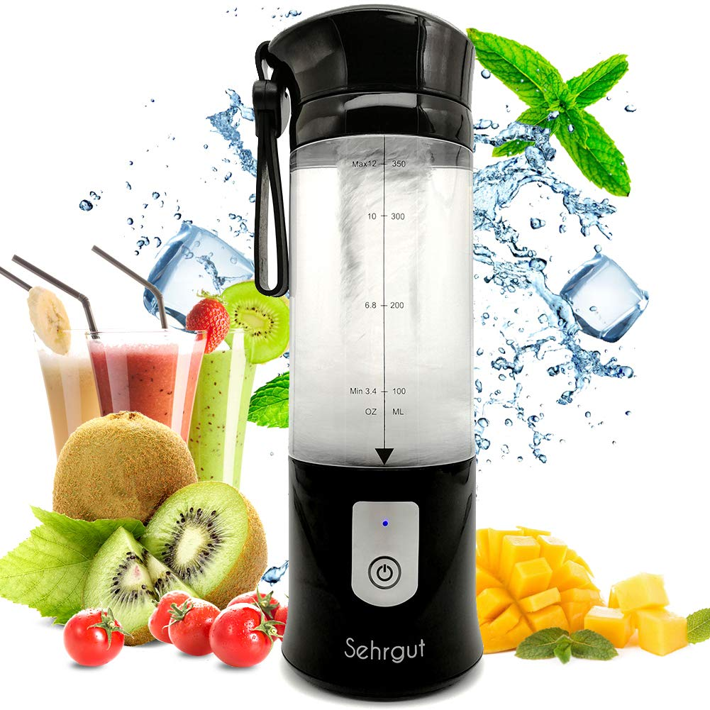 Portable Smoothie/Juicer Blender Cup,Personal Small 14.2oz 4000 mAh USB Blender/for Travel,Office,Gym,Black by Sehrgut