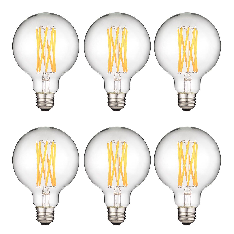 8-Watt Warm White 6 Pack 100W Equivalent Sunlite 40969-SU LED G30 Filament Light Bulb Dimmable Globe Lightbulb 27K