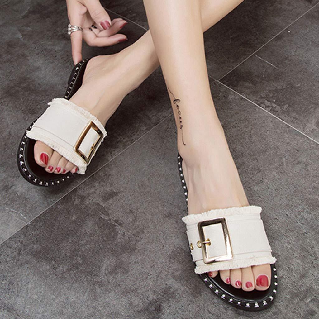 Lurryly Slippers for Women,Flat-Bottom Slipper Open-Toe Square Buckle Sandals Beach Shoe