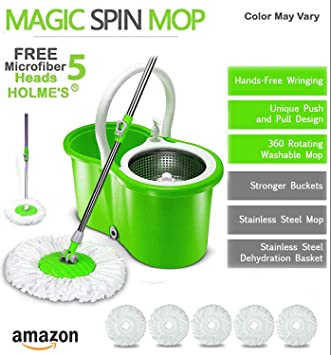 HOLME'S Mop Bucket Magic Spin Mop Bucket Double Drive Hand Pressure with 5 Micro Fiber Mop Head Household Floor Cleaning & 4 Color May Vary (with Soap Dispenser)