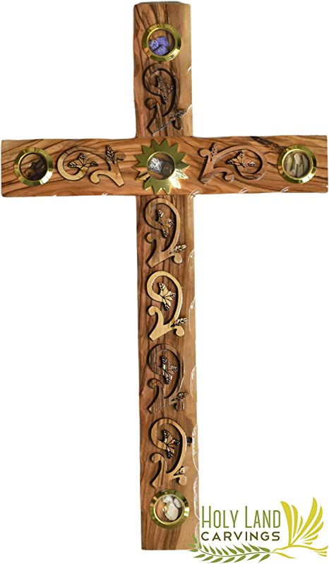 Amazon Com 14 Inch Wall Cross Olive Wood Holy Land Cross With Wooden Flowers Design And Relics Home Blessing Wall Decor For Entryway Office Living Room Home Kitchen