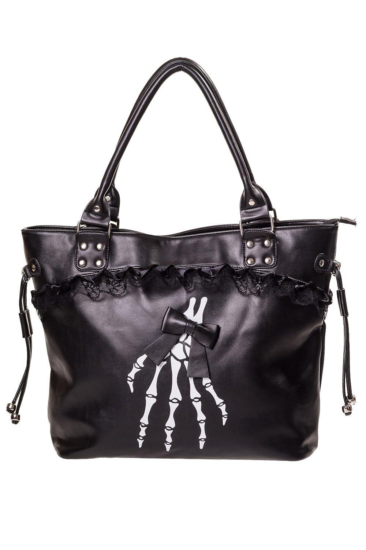 Banned Gothic Lolita Skeleton Hands and Black Bow Lace Trim Handbag