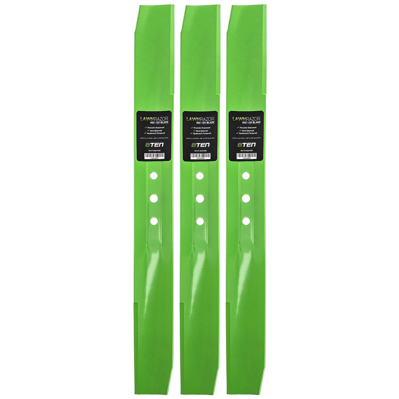 8TEN LawnRAZOR Medium-Lift Blade 22 Inch for Toro Recyclers Steel Decks 108-9764-03 104-8697-03 131-4547-03 3 Pack