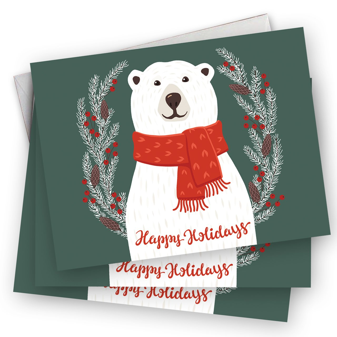 Amazon Smiling Polar Bear Holiday Card Pack Set Of 25 Cards