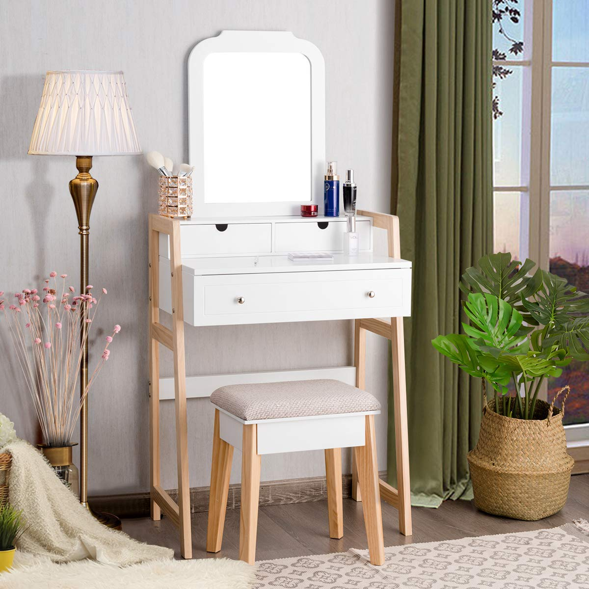 CHARMAID Vanity Set with 2-Tier Tabletop 3 Drawers, 25 Dressing Table with Large Mirror and Cushioned Stool, Ideal for Small Place Apartment, Unique Chic Design, Makeup Table Set for Women Girls