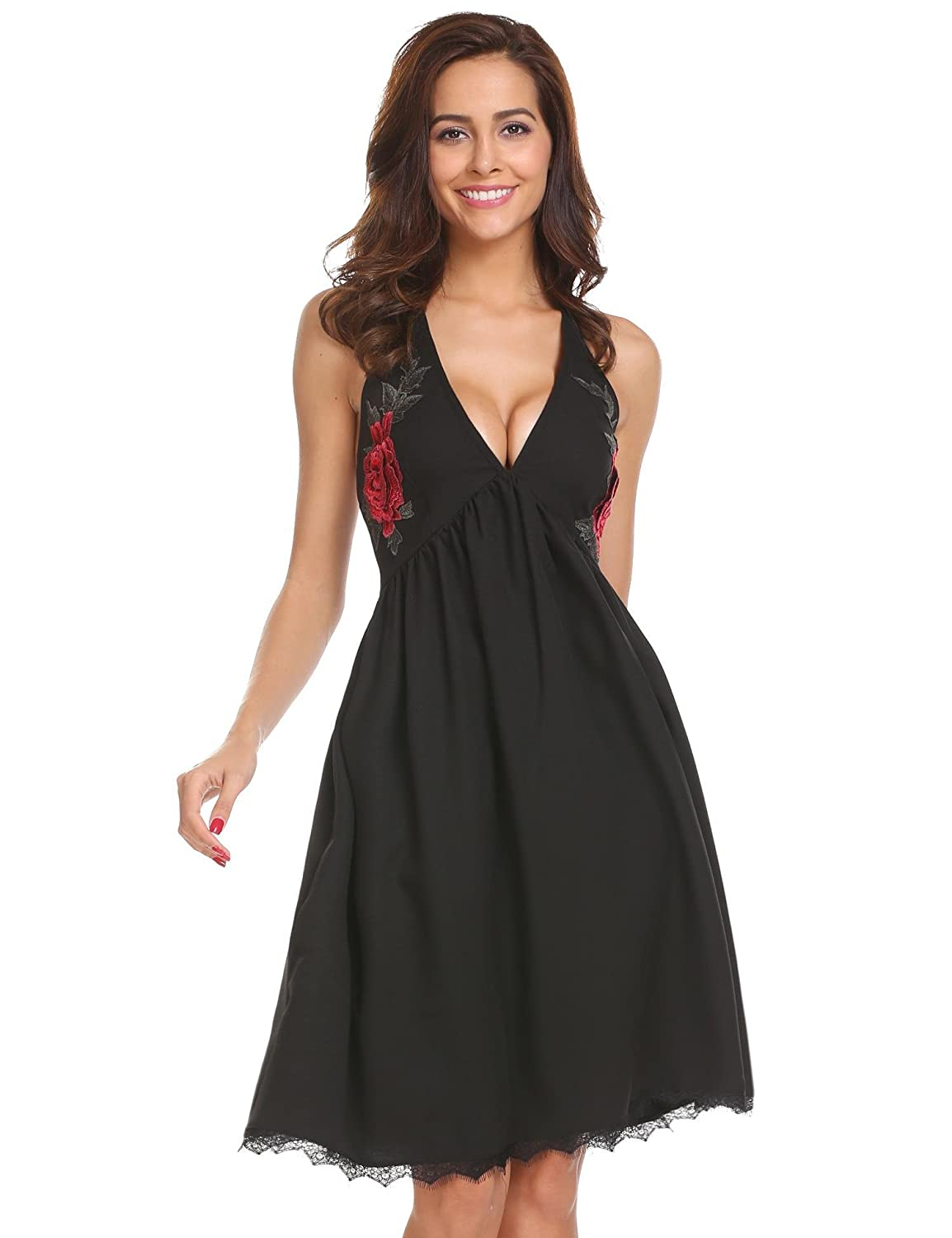 d06a156614 Spaghetti strap, v neck, backless, sleeveless, a line midi dress.  Embroidered floral, lace hem, ruched waist and deep v neck design. Sexy and  elegant