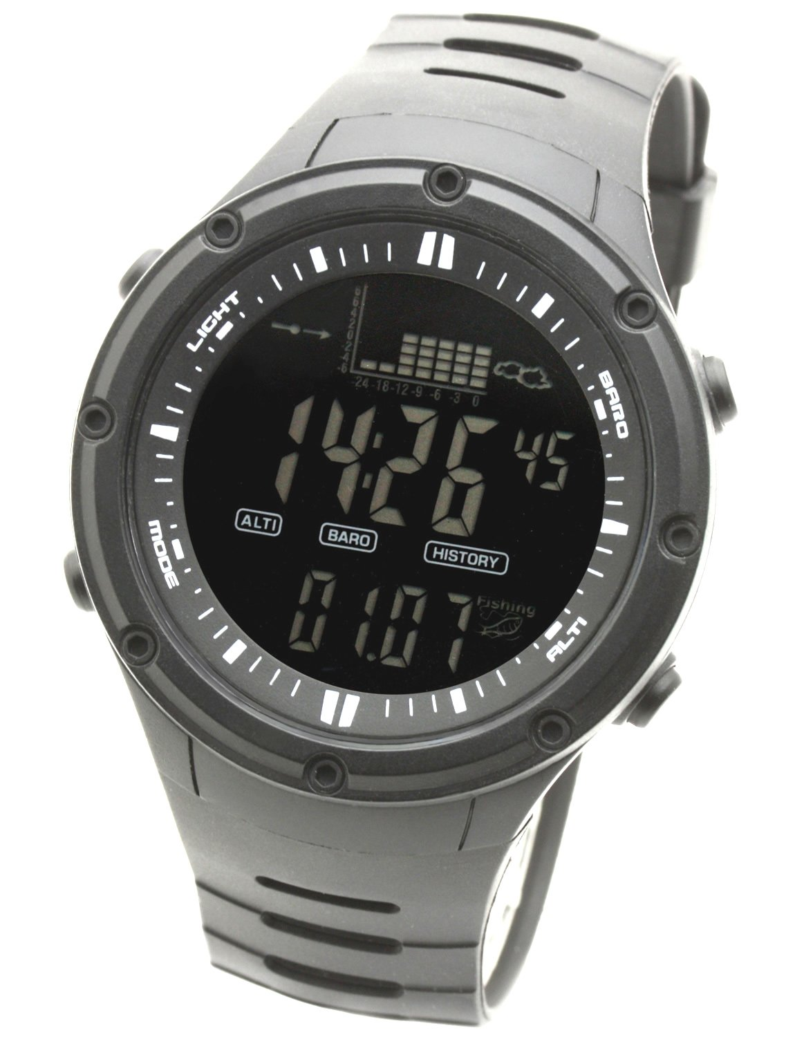 [Lad Weather] Fishing Storm Alarm Altimeter Barometer Chronograph Weather Forecast Men's Wrist Sports Watches