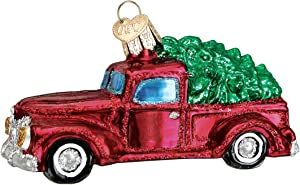 Old World Christmas Ornaments: Old Truck With Tree Glass Blown Ornaments for Christmas Tree (46029)