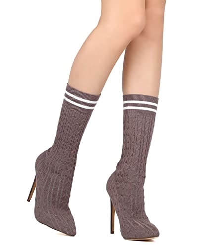 Women Mid Calf Sock Boot - Dressy Cosplay Party - Knitted Stiletto Boot - GD27