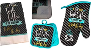Coffee Kitchen Decor - Oven Mitts - Towel Linen Set (6 Pc) A Hot Fresh Coffee is The Best Way to Start The Day - Kitchen Towel Potholders Scrubber Dishcloths Oven Mitt - Kitchen Decorations