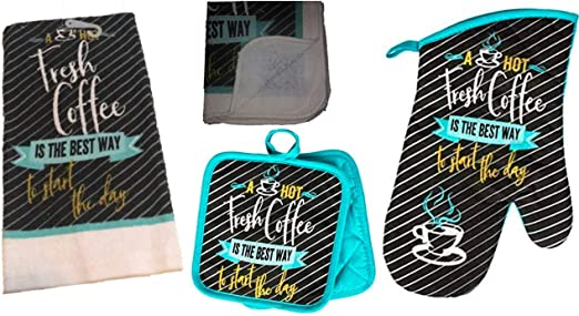 Coffee Kitchen Towel Set Wake Up and Smell The Coffee with 2 Quilted Pot Holders 2 Dish Towels and 1 Oven Mitt