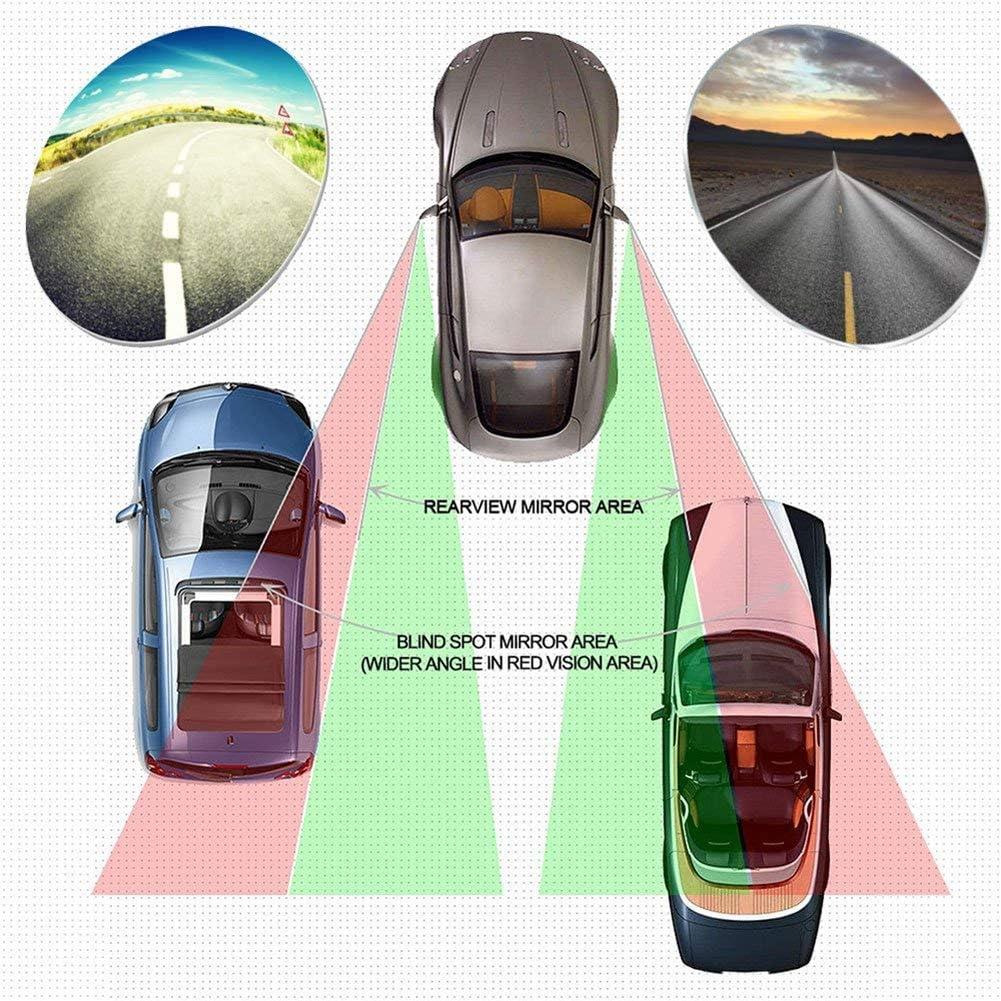 Auto Pveath 2 specchietti retrovisori rettangolari in Vetro HD Convesso Senza Cornice grandangolo ausiliario per la Sicurezza di parcheggio Rotazione a 360/° Camion Regolabile SUV