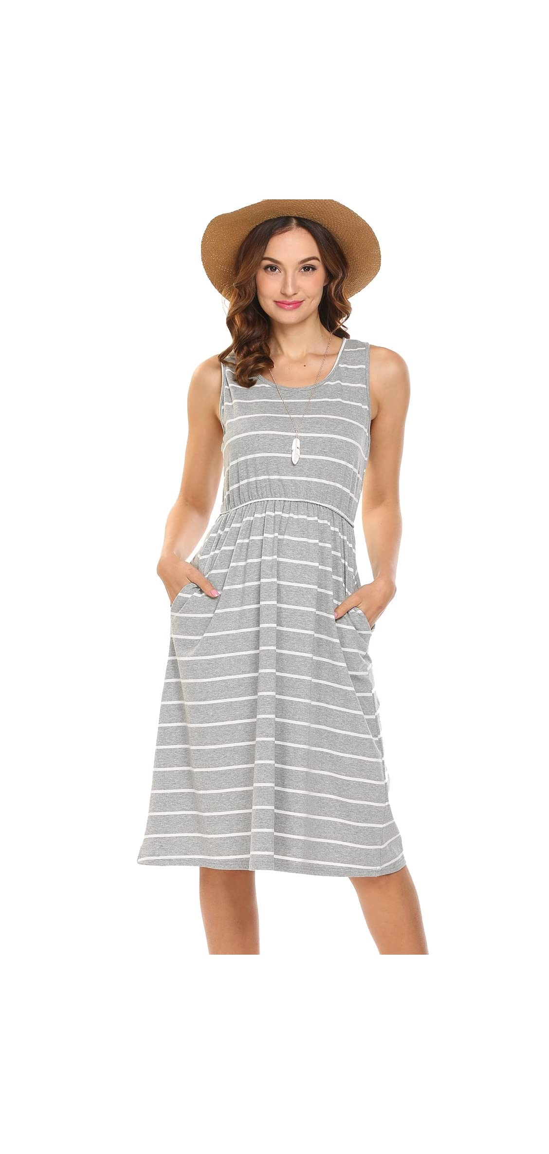 Women's Summer Sleeveless Striped Empire Waist Loose Midi
