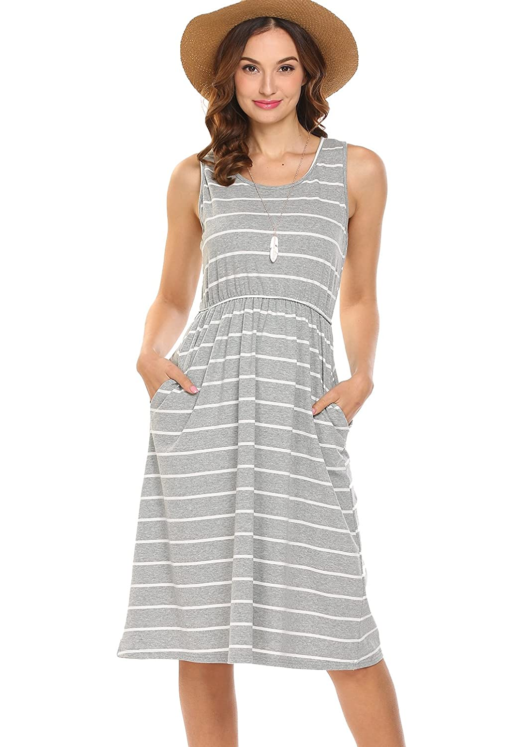 Hount Women s Summer Sleeveless Striped Empire Waist Loose Midi Casual Dress  with Pockets at Amazon Women s Clothing store  d5f22eed0