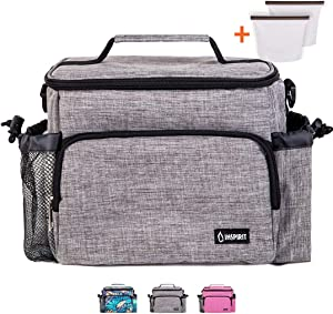 Inspirit Insulated Lunch Bag for Women - Mens Lunch Box, Meal Prep Lunch Bag, 14-Can Lunch Coolers for Work Men Adult Lunch Boxes, Thermal Lunch Box with 2 Reusable Silicone Food Bags, Gray